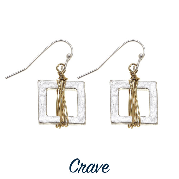 "Short crave square fishhook earrings. Approximate 1"" in length."
