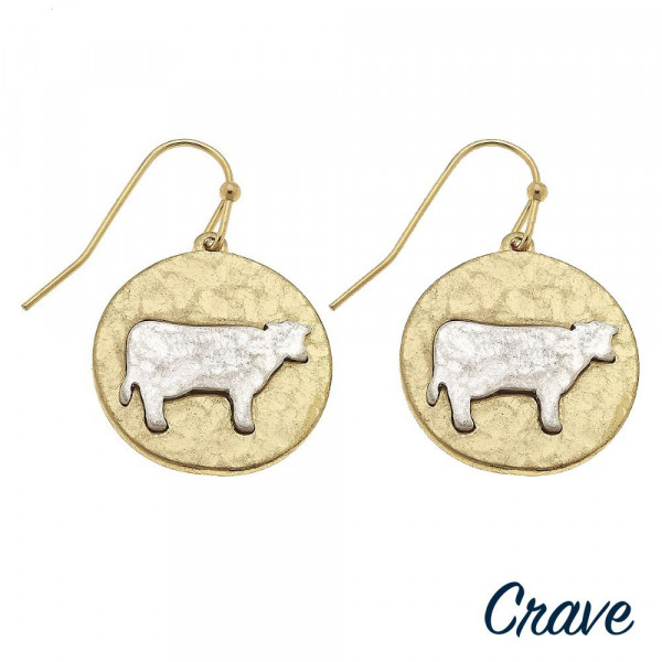 "Short metal fish hook earrings with cow details. Approximate 1"" in length."
