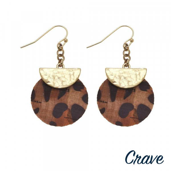 """Long cork earring with metal plate. Approximate 2"""" in length."""