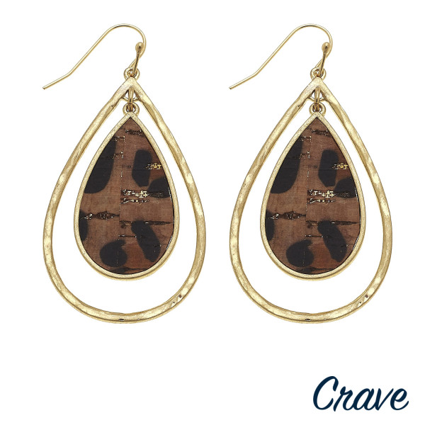 """Long cork drop earring with metal drop. Approximate 2.5"""" in length."""