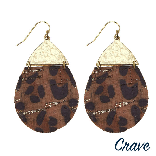 """Long cork drop earrings featuring gold metal accents. Approximate 2"""" in length."""