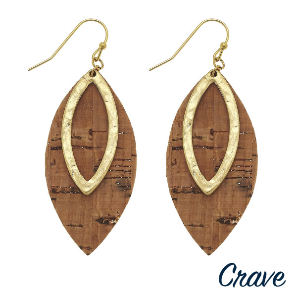 """Long cork leaf earring with metal leaf earring. Approximate 2"""" in length."""