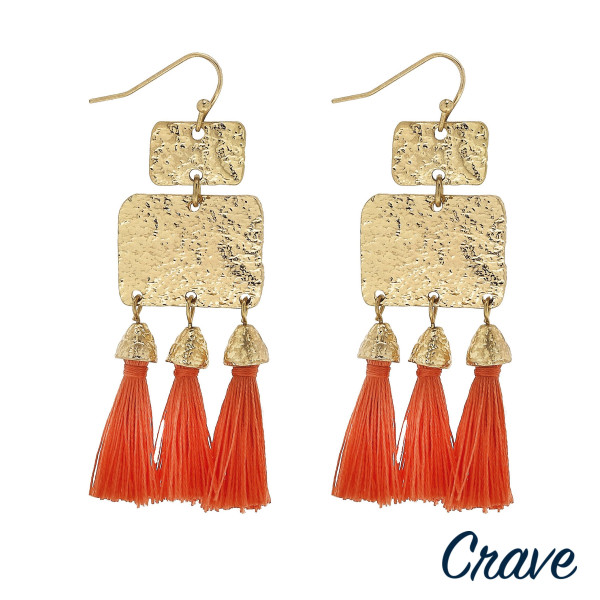"Long metal plate earrings with tassels. Approximate 2.5"" in length."