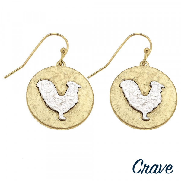 "Short metal fish hook earrings with hen details. Approximate 1"" in length."