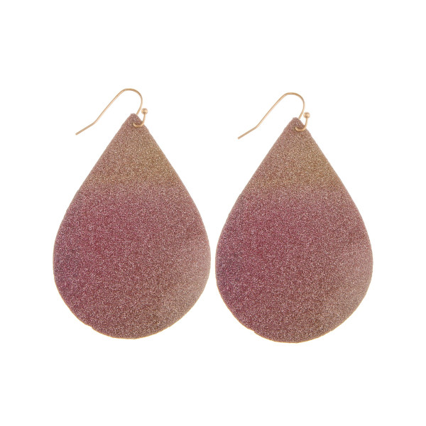 "Long leather drop earring with glitter detail. Approximate 2"" in length."