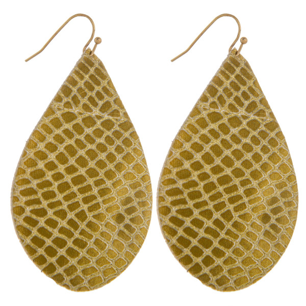"""Long leather drop earring with snakeskin detail. Approximately 2.5"""" in length."""