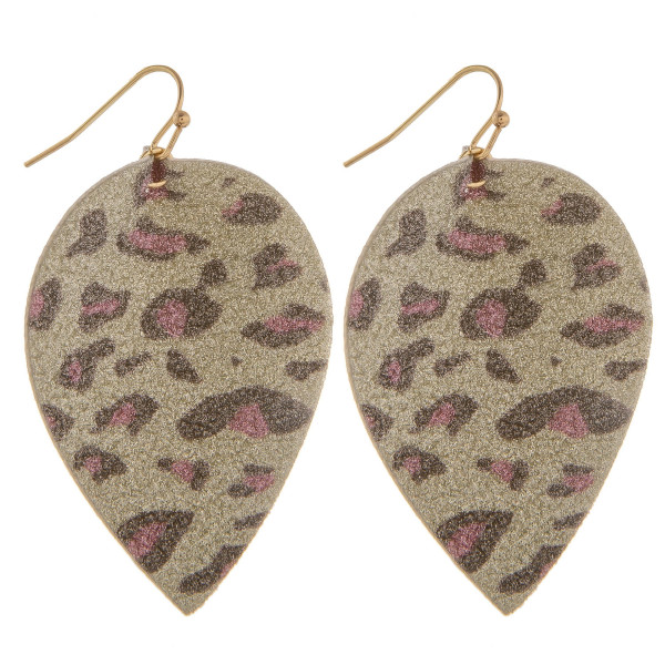 """Long leather leaf earring with glitter detail. Approximate 2.5"""" in length."""