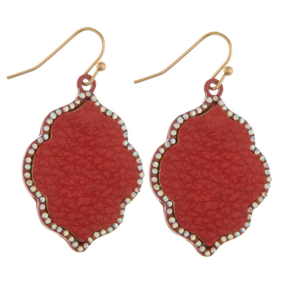 """Short earrings with rhinestone and leather detail. Approximate 1.5"""" in length."""