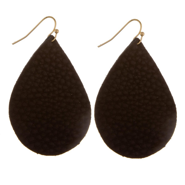 """Long leather drop earring with snake skin detail. Approximate 2"""" in length."""