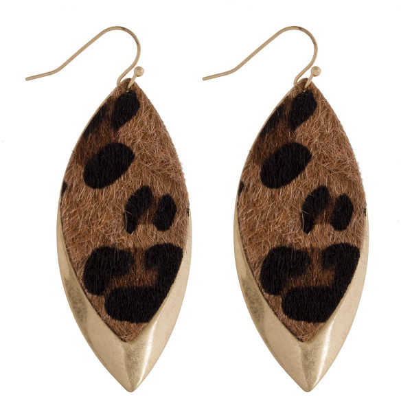 """Long metal leaf earring with animal print detail. Approximate 2.5"""" in length."""