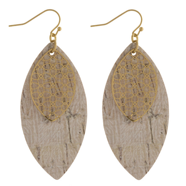"""Long cork leaf earring with small filigree leaf. Approximate 2.5"""" in length."""