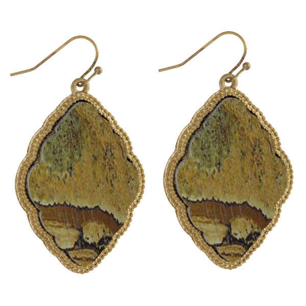 """Long wooded earring with metal trim. Approximate 2"""" in length."""