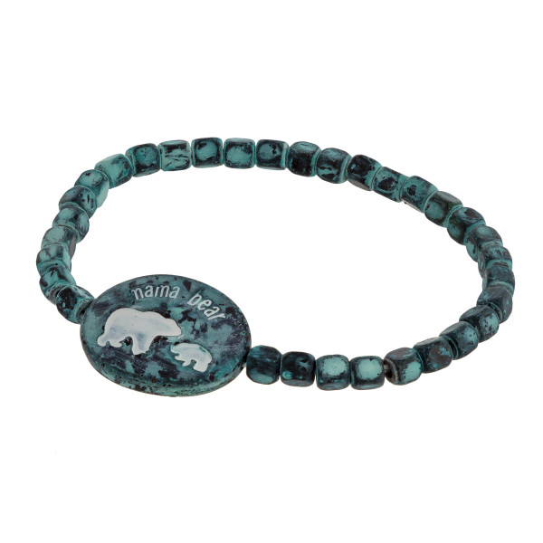 """Beaded stretch mama bear bracelet. Approximate 3"""" in length."""