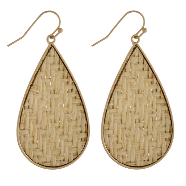 "Long metal drop earring with paper raffia. Approximate 2"" in length."