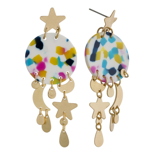 Wholesale long acetate earrings moon star charms Approximate