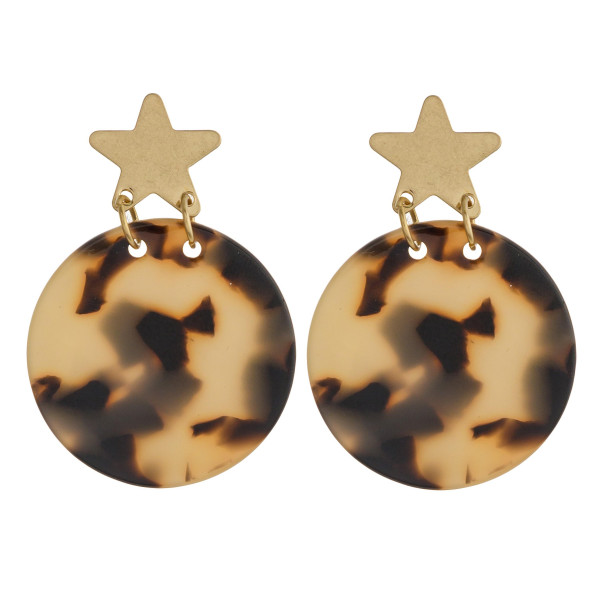 "Resin inspired earrings with a gold star stud post. Approximately 1"" in diameter."