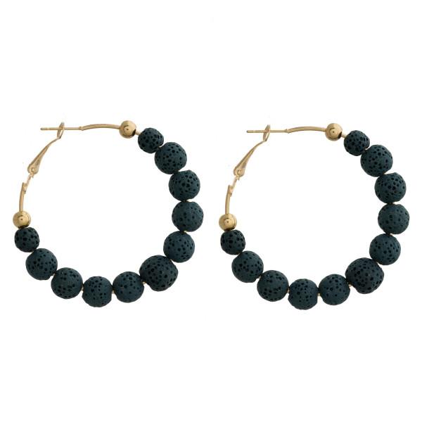 """Long hoop beaded earrings. Approximate 1.5"""" in length."""