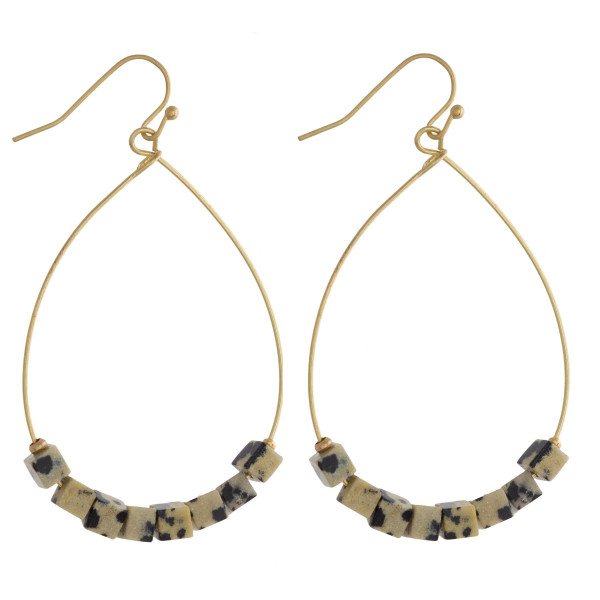 Wholesale metal teardrop earrings dalmatian natural stone beaded details