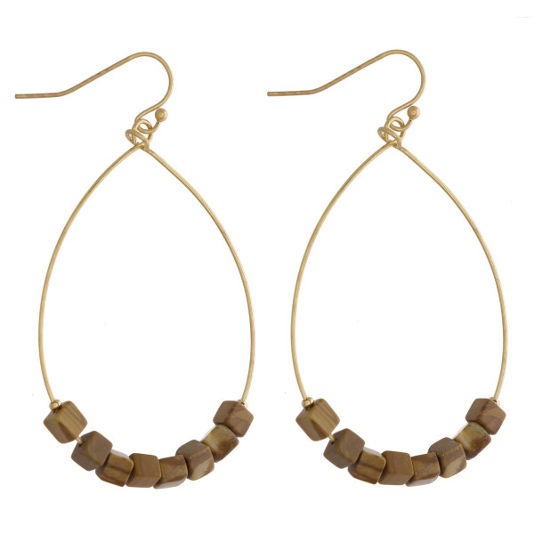 """Metal teardrop earrings featuring picture jasper natural stone beaded details. Approximately 2"""" in length."""