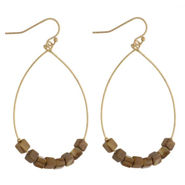 Wholesale metal teardrop earrings picture jasper natural stone beaded details