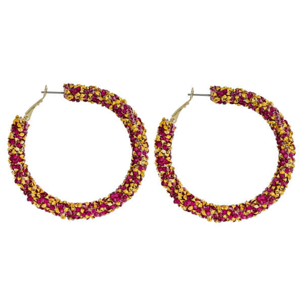 Wholesale large hoop earrings red gold rhinestones diameter