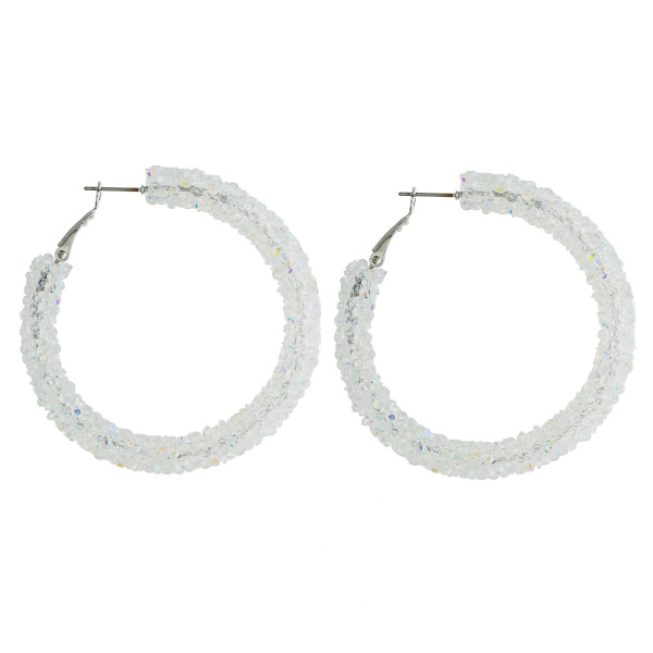 Wholesale large hoop earrings white rhinestones diameter