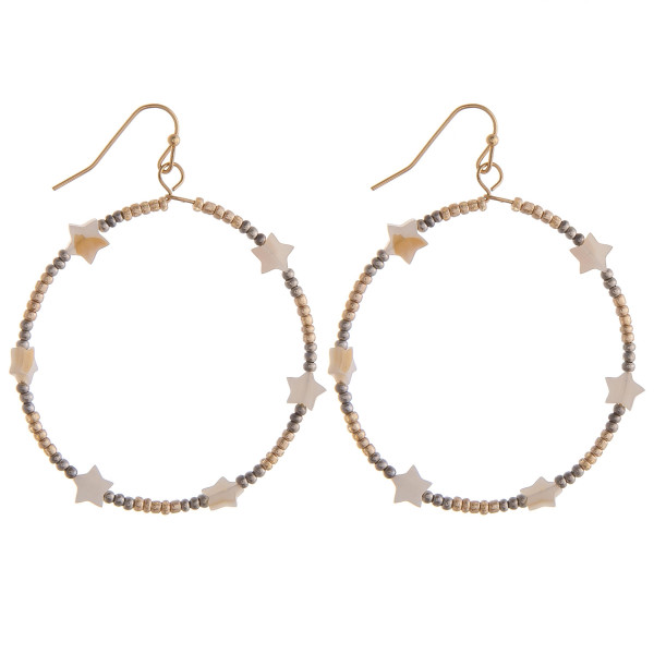 "Circular drop earrings featuring gold and silver beads and star accents. Approximately 1.5"" in diameter."