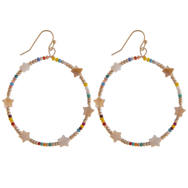"Circular drop earrings featuring multicolor beads and star accents. Approximately 1.5"" in diameter."