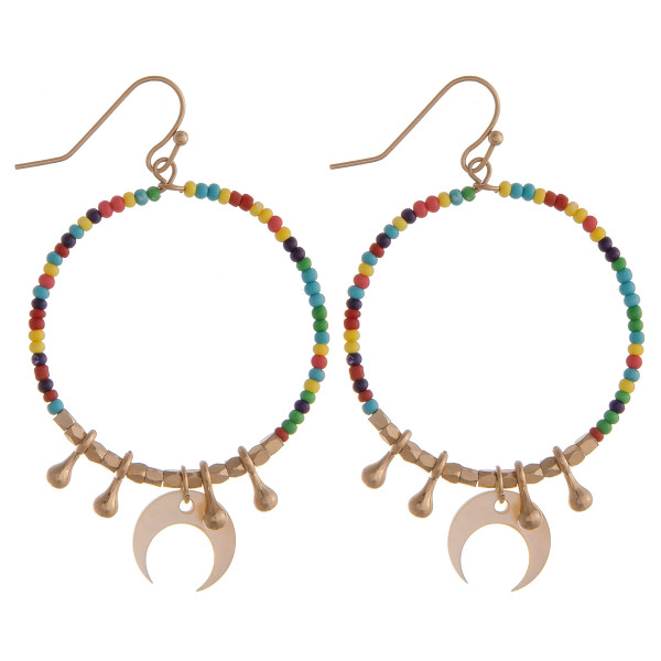 """Circular drop earrings featuring multicolor beads with crescent and gold details. Approximately 1.5"""" in diameter."""