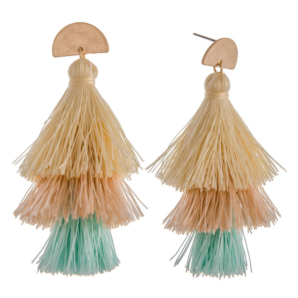 "Multi-colored fan tassel earrings featuring a gold half circle post. Approximately 3"" long."