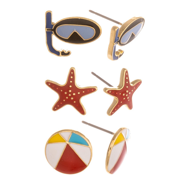 Three-pair stud earrings with snorkel, starfish, and beach ball details. Approximate 1cm in length.