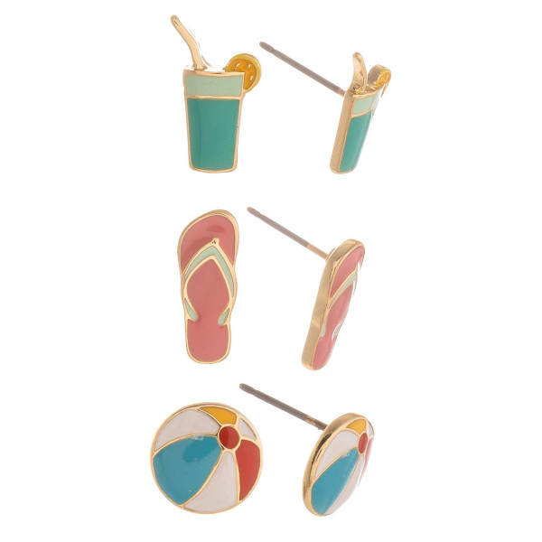Three-pair stud earrings with drink, flip flop, and beach ball details. Approximate 1cm in length.