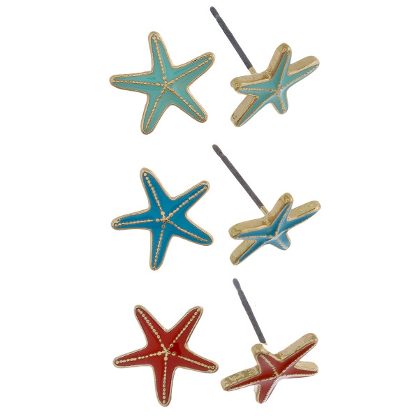 Three-pair stud earrings with starfish details. Approximate 1cm in length.