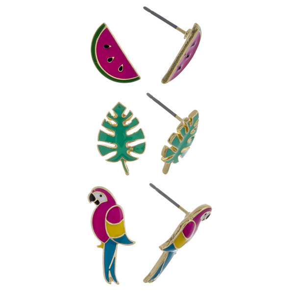 Three-pair stud earrings with watermelon, leaf, and parrot details. Approximate 1cm in length.