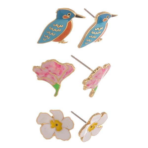 Three-pair stud earrings with bird and floral details. Approximate 1cm in length.