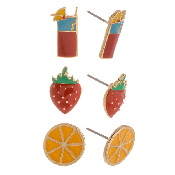 Three-pair stud earrings with drink, strawberry, and orange details. Approximate 1cm in length.