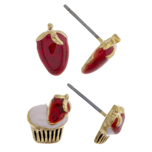 Stud metal fruit earrings. Approximate 1cm in length.