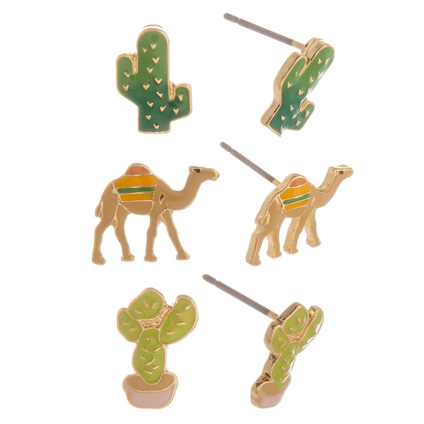 Three-pair stud earrings with cactus and camel details. Approximate 1cm in length.