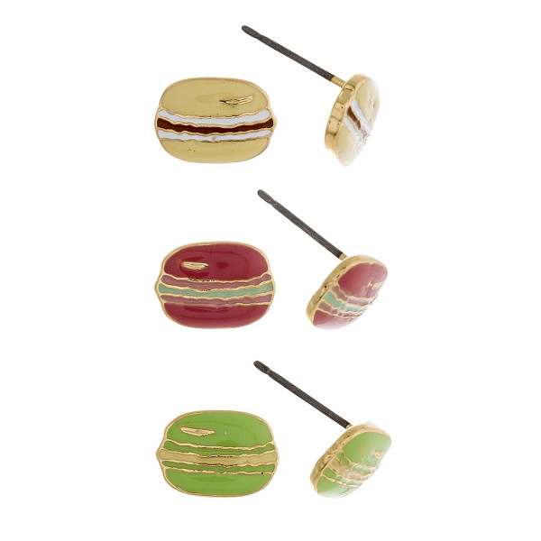Three-pair stud earrings featuring pink, ivory, and green macaron details. Approximate 1cm in length.