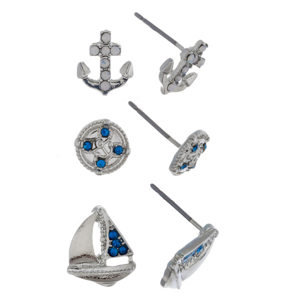 Metal 3 pair stud earrings includes anchor, boat details.. Approximate 1cm.