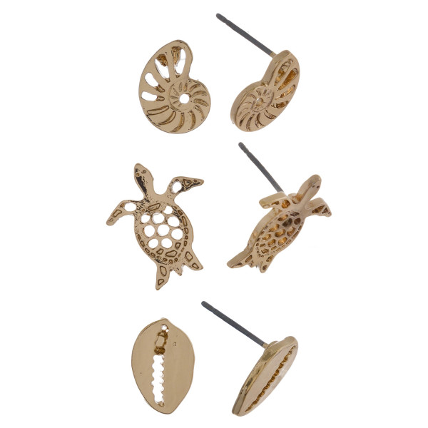 Three-pair stud earrings with conch, turtle, and shell details. Approximate 1cm in length.