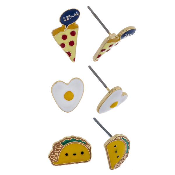 Three-pair stud metal earrings with pizza, egg, and taco details. Approximate 1cm in length.