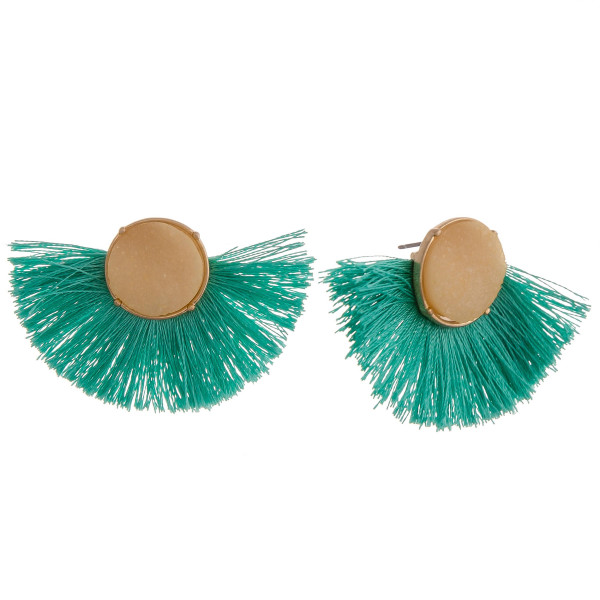 "Tassel earrings featuring druzy stones accents. Approximately 1"" in length."