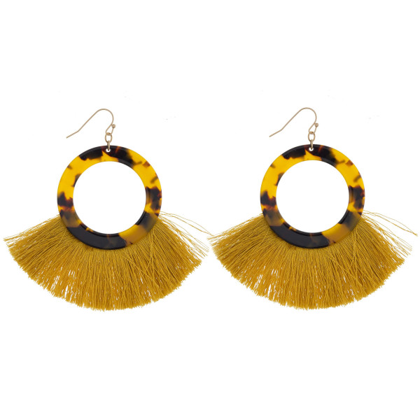 "Long acetate earring with tassels. Approximate 3"" in length."