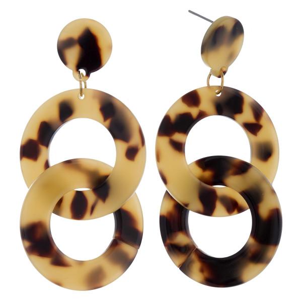 "Long tortoise acetate double hoop earrings. Approximate 2"" in length."