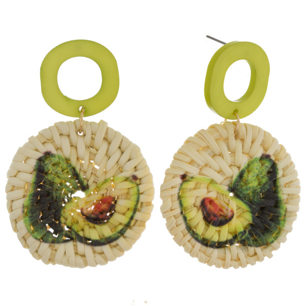 "Long woven raffia earrings with acetate post and avocado fruit print. Approximately 2.5"" in length."