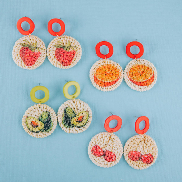 "Long woven raffia earrings with acetate post and strawberry fruit print. Approximately 2.5"" in length."