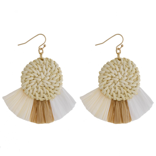 """Long solid hoop straw earring with tassel. Approximate 2"""" in length."""