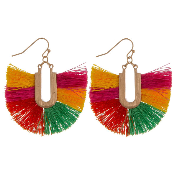 "Multi-colored tassel earrings. Approximately 2"" in length."