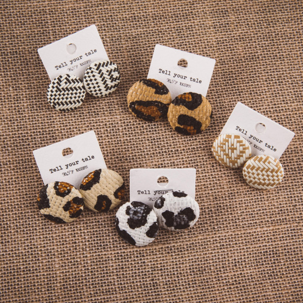 """Short button stud earrings with raffia details. Approximate 1"""" in length."""